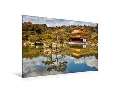 Premium Textil-Leinwand 120 cm x 80 cm quer Goldener Pavillon Kinkakuji