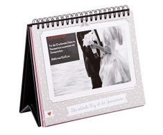 goldbuch Tischaufsteller Hochzeit, Fotorahmen für 12 Fotos im 10 x 15 Format als Flipaufsteller, Bilderrahmen mit Sprüchen, Fotoringbuch zum Selbstgestalten, Papier, Grau, ca. 18 x 16 x 2 cm
