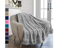 Pavillia Überwurfdecke aus Plüsch Sherpa für Couch Sofa, Flauschiger Microfaser Fleece Überwurf, weich, flauschig, gemütlich, leicht, solide Decke 50 x 60 Inches Grau meliert