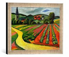Gerahmtes Bild von August Macke Landschaft mit Kirche und Weg, Kunstdruck im hochwertigen handgefertigten Bilder-Rahmen, 40x30 cm, Silber Raya