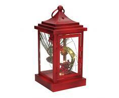 EUROCINSA Ref. 29108 Laterne aus Eisen in Rot mit Berrys und LED-Licht innen 11 x 11 x 23 cm. 2 Stück Glas, Einheitsgröße