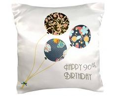 3dRose PC 162031 _ 1 Happy 90th Birthday – Moderne Stilvolle Floral Luftballons. Elegante Schwarz Braun Blau 90 Jahre alte Bday – Kissen Fall, 16 von 40,6 cm