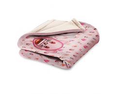 Emoji Fleecedecke, Motiv Katzen, Polyester, Pink, Einzelbett, 190 x 120 x 3 cm
