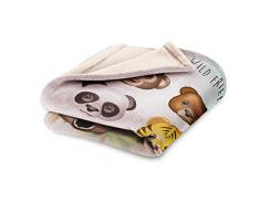Emoji Fleecedecke für Kinder, Design Animal Polyester, Mehrfarbig, Einzelbett, 140 x 95 x 2 cm