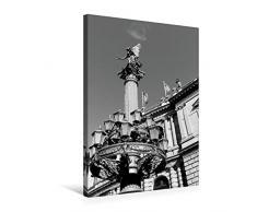 Premium Textil-Leinwand 50 x 75 cm Hoch-Format Detailreiche Laterne mit Statue am Rudolfinum   Wandbild, HD-Bild auf Keilrahmen, Fertigbild auf hochwertigem Vlies, Leinwanddruck von happyroger