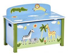 Zeller 13497 Kinder-Sitztruhe Safari, MDF, Dekor, ca. 67 x 37 x 49.5 cm