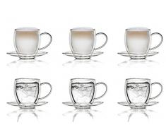 Creano 6 doppelwandige 250 ml Glas-Thermotassen mit Untersetzer, Glas-Teetasse / Kaffeetasse mit Schwebeeffekt, Glastasse mit Henkel und Untersetzer im Geschenkkarton – 6er Set