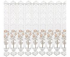 Plauener Spitze by Modespitze 68731_62_96 Gardine, Hhe 62 cm, Breite 96 cm, 3-farbig: creme, beige und lachs