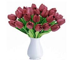 BOMAROLAN Künstliche Tulpen, holländische Mini-Tulpen, echte Haptik, 24 Stück, für Hochzeit, Dekoration, Heimparty, Party. Art Deco Medium rosarot