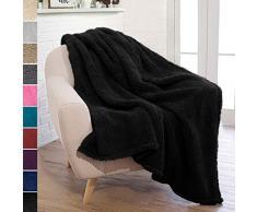 PAVILIA Pavillia Überwurfdecke aus Plüsch Sherpa für Couch Sofa, Flauschiger Microfaser Fleece Überwurf, weich, flauschig, gemütlich, leicht, solide Decke, Polyester, Schwarz, 50 x 60 Inches