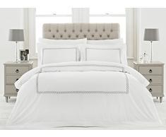 5-Sterne-Hotel Qualität Cleopatra Bettdecke Set-weiche Reine Baumwolle, Polyester, weiß/Silber, Super King