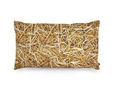 FOONKA Buchweizen Kissen 50x30 cm, Kopfkissen gefüllt mit Buchweizenschalen, Cotton, Stroh, Beige, Braun