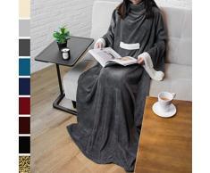 PAVILIA Deluxe Fleece Decke mit Ärmeln für Erwachsene, Herren, und Women  Elegante, Cozy, Warm, Extra Weich, Plüsch, funktional, Leicht Tragbar Überwurf 50 x 70 inches Anthrazit