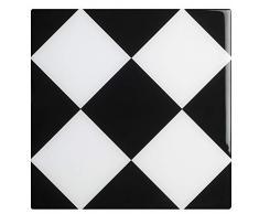 Plage 3D-Klebedekoration AGLIANA [4 Fliesen gewölbt], schwarz und weiß, 15x15cm