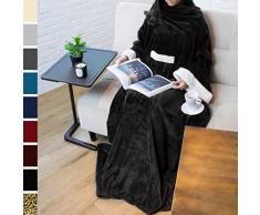 PAVILIA Deluxe Fleece Decke mit Ärmeln für Erwachsene, Herren, und Women| Elegante, Cozy, Warm, Extra Weich, Plüsch, funktional, Leicht Tragbar Überwurf 50 x 70 inches Schwarz