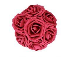 AnParty 50 Künstlichen Blume , Real Touch Schaumstoff-Rosen Dekoration DIY für Hochzeit Brautjungfer Bridal Bouquet Aufsteller Party Weinrot