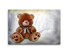 Calvendo Premium Textil-Leinwand 120 cm x 80 cm quer Teddybär | Wandbild, Bild auf Keilrahmen, Fertigbild auf echter Leinwand, Leinwanddruck: Kuscheltier Hobbys Hobbys
