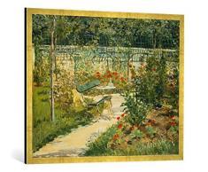 Gerahmtes Bild von Edouard Manet Bank im Blumengarten von Versailles, Kunstdruck im hochwertigen handgefertigten Bilder-Rahmen, 100x70 cm, Gold Raya