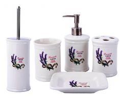 GMMH Landhaus Vintage BadSet Lavendel Badezimmer Zubehör Set Seifenspender WC Bürste Keramik (5 er Set)