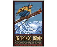 Northwest Art Mall Arapahoe Waschbecken Colorado Skispringer Travel Poster Kunstdruck von Paul A. lanquist Antik 12x18 inch
