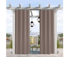 Pro Space wasser- und windabweisender Outdoor-Vorhang, thermoisolierte Ösen oben und unten, Sichtschutz für Terrasse, Veranda, Pavillon, Cabana, 127 cm B x 305 cm L, taupe grau