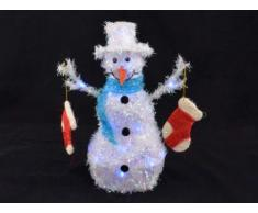 Weihnachtsbeleuchtung Schneemann mit Socken, blau