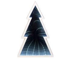 III Baum aus Kunststoff mit Spiegeleffekt und 24 weißen LED, batteriebetrieben, für Weihnachten, im Winter, als Stimmungslicht, ca. 27,5 x 18,5 x 5 cm