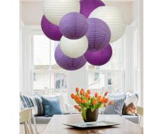 EIN Liittle Tree Papierlaternen, gemischt, rund, für Hochzeit, Geburtstag, Party, Dekoration, Violetter Farbton (12), 20,3 cm + 25,4 cm
