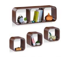 Relaxdays Cube Regal, 4er Set, Schwebend, Quadratisch, Modernes Design, Hoch- & Querformat, Kinderzimmer, MDF, Braun