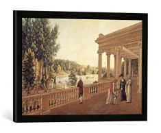 Gerahmtes Bild von AKG Anonymous Pawlowsk, Schloßpark, Pavillon/ Aquarell, Kunstdruck im hochwertigen handgefertigten Bilder-Rahmen, 60x40 cm, Schwarz matt