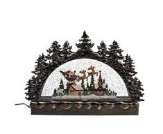 Kurt S. Adler 22,9 cm batteriebetriebener LED Weihnachtsmann und Schlitten Wassertisch Tischstück Weihnachtsdorf Mehrfarbig