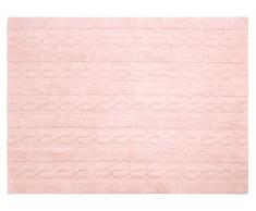Lorena Canals Teppich Zöpfe waschbar, Baumwolle, Soft Pink, 120x 160x 30cm