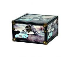 Kleiber 91980 Aufbewahrungs Truhe Paris Box mittel Aufbewahrungs Koffer, Box, Holz, Schwarz, 24 x 24 x 14 cm