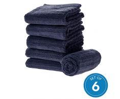 iDesign 6er-Set Handtücher, kleines Handtuch mit Streifenstruktur aus Baumwolle, weiches und saugfähiges Handtuch Set mit Aufhänger für Waschbecken und Gäste-WC, dunkelblau