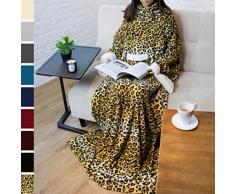 PAVILIA Deluxe Fleece Decke mit Ärmeln für Erwachsene, Herren, und Women  Elegante, Cozy, Warm, Extra Weich, Plüsch, funktional, Leicht Tragbar Überwurf One Size Gepard