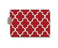 Vandarllin Marokkanische-Gitter Muster Fußmatten Teppich, rutschhemmenden Rutschfest Gummi Indoor Outdoor Küche Eintrag 23.6 x 15.7 Rot