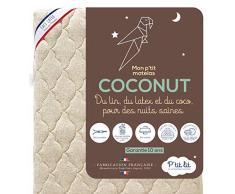 PTIT LIT – Babymatratze aus Kokosnuss – 60 x 120 cm – 1 Seite Latex / 1 Seite Kokosnuss pflanzlich – Leinen: natürlich wärmeregulierend – Abnehmbarer Bezug – Oeko-Tex® – französische Herstellung