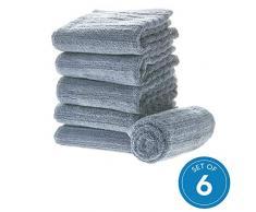 iDesign 6er-Set Handtücher, kleines Handtuch mit Streifenstruktur aus Baumwolle, weiches und saugfähiges Handtuch Set mit Aufhänger für Waschbecken und Gäste-WC, rauchblau