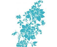 INDIGOS 4051095035176 Wandtattoo w324 Blumen Wandauskleber in 3 Größen, 120 x 84 cm, türkis