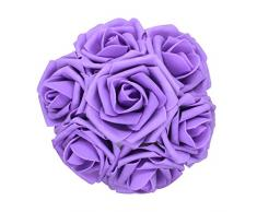50 Stück künstliche Blumen, fühlen sich echt an, Schaumstoff-Rosen, Dekoration für Hochzeit, Brautjungfer, Brautstrauß, Mittelstücke, Party violett