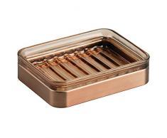 iDesign 24233EU Casilla Seifenschale für Badezimmer Waschtisch, Küchenspül, 11,7 x 8,9 x 2,9 cm, sand/venetian bronze, Glas