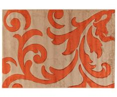 VIVA 19020 Teppich Anglet, Synthetikfaser, dunkel beige / rot, 170 x 120 x 1.6 cm