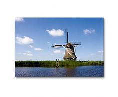 Premium Textil-Leinwand 90 x 60 cm Quer-Format Windmühle in Friesland - Molen in Fryslan   Wandbild, HD-Bild auf Keilrahmen, Fertigbild auf hochwertigem Vlies, Leinwanddruck von Karin Hansen