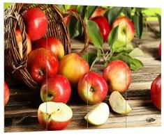 Pixxprint Äpfel im Korb, MDF Bretterlook Format: 80x60cm, Wanddekoration Holzbild, Holz, bunt, 80 x 60 x 2 cm