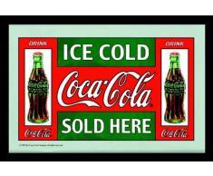 empireposter - Coca Cola - Verkauf - Größe (cm), ca. 30x20 - Bedruckter Spiegel, NEU - Beschreibung: - Bedruckter Wandspiegel mit schwarzem Kunststoffrahmen in Holzoptik -