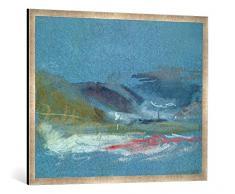 Gerahmtes Bild von Joseph Mallord William Turner River Bank, c.1830, Kunstdruck im hochwertigen handgefertigten Bilder-Rahmen, 100x70 cm, Silber Raya