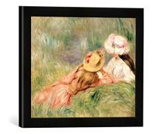 Gerahmtes Bild von Pierre Auguste Renoir Young Girls on The River Bank, Kunstdruck im hochwertigen handgefertigten Bilder-Rahmen, 40x30 cm, Schwarz matt