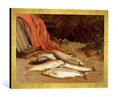 Gerahmtes Bild von William Geddes Brown Trout on a River Bank, Kunstdruck im hochwertigen handgefertigten Bilder-Rahmen, 60x40 cm, Gold Raya