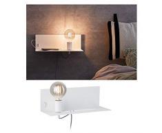 Paulmann 78915 Wandleuchte Devara mit Ablage max. 40 Watt Wand-Leselampe Weiß Leseleuchte Metall Wandlampe E27