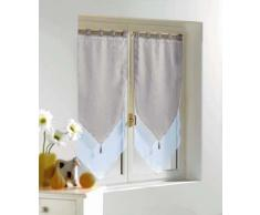 Douceur dIntérieur 1620387 Vorhang, Pompon/Schleier, 60x120cm, Weiß/ Grau, 2 Stück
